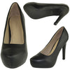 Womens Dress Shoes Almond Toe Stiletto Slip On Pumps Black