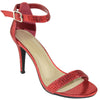 Womens Studded High Heel Sandals Red