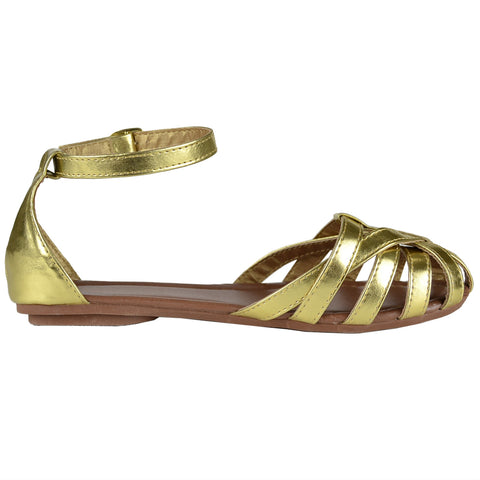 Womens Metallic Sandals Gold