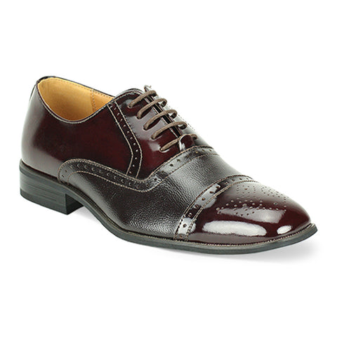 Mens Two-Tone Wingtip Oxford Burgundy