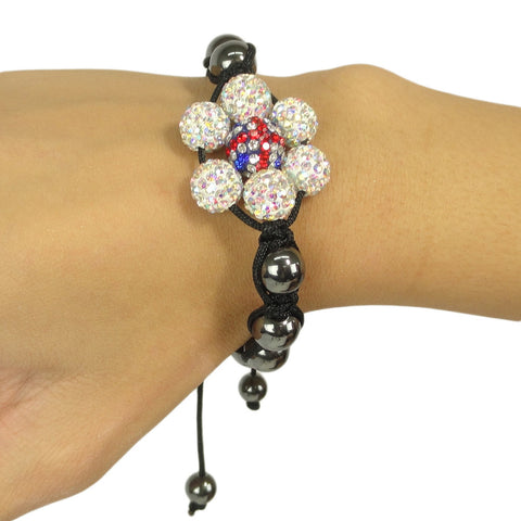 Womens Fashion Jewelry Shambala Inspired Flower Rhinestones Bracelet black