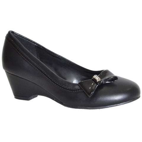 Girls Bow Accent Pumps Black