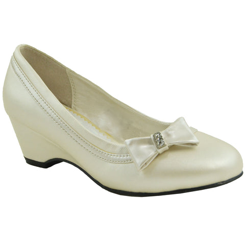 Girls Bow Accent Pumps Ivory
