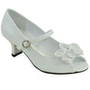 Girls Peep Toe Flower Accent Pumps White