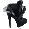 Womens Mid Calf Boots Two Tone Platform Sexy High Heels black