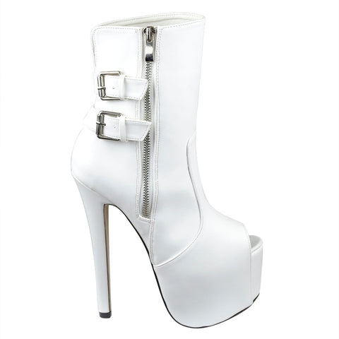 Peep Toe Stiletto Platform Ankle Boot