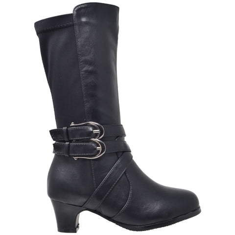 Toddler & Youth Strappy Heeled Mid Calf Boot