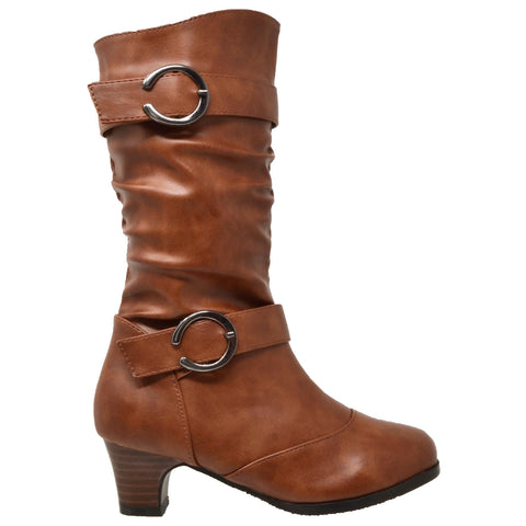 0cc8c44ebe87 Girls Faux Leather Slouch Low Heel Mid Calf Buckle Boots Brown – SOBEYO.COM