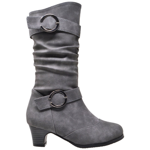 Toddler & Youth Slouch Heeled Mid Calf Boot