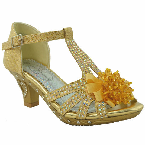 Toddler & Youth Low Heel Rhinestone Sandal