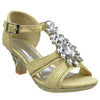 Toddler & Youth T-Strap Glitter Heel Sandal