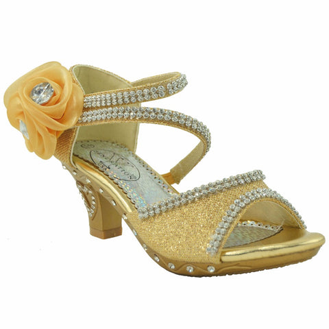 Girls Rhinestone Flower High Heel Dress Sandals Gold