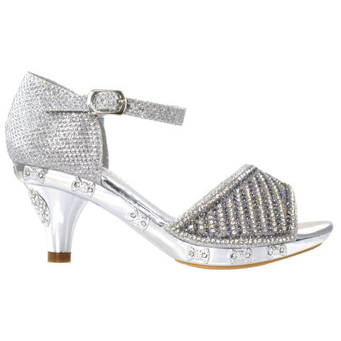 Toddler & Youth Low Heel Rhinestone Glitter Sandal