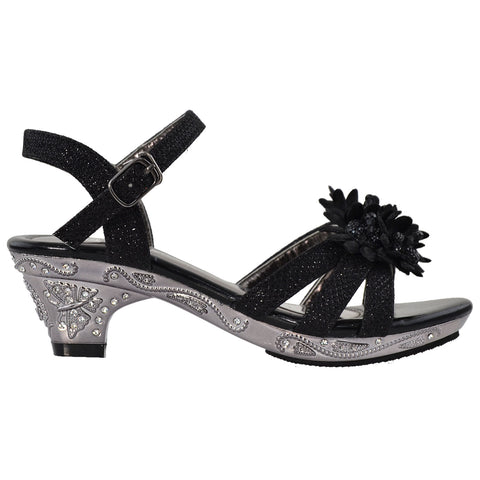 Toddler & Youth Flower Glitter Low Heel Sandal