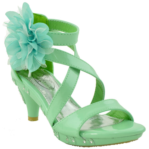 Girls Tulle Flower High Heel Dress Sandals Green