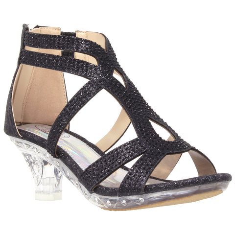 Rhinestone Glitter Caged Clear High Heel Sandals Black Generation Y