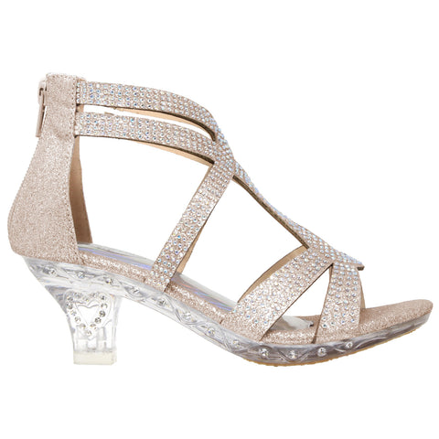 Rhinestone Glitter Caged Clear High Heel Sandals Champagne Generation Y