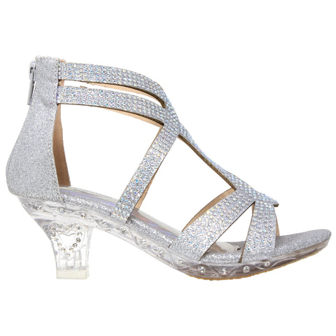 Rhinestone Glitter Caged Clear High Heel Sandals Silver Generation Y