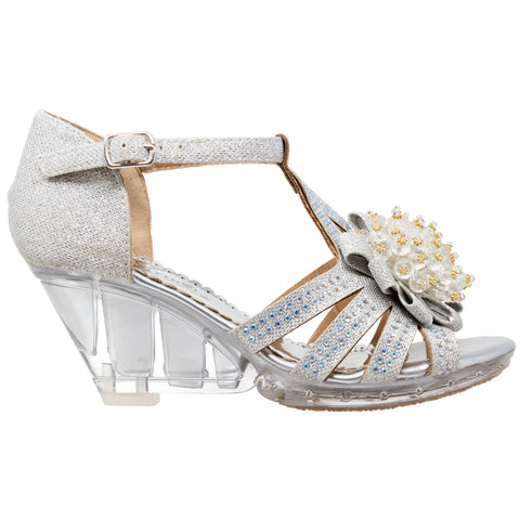 Toddler & Youth Girl's T-Strap Rhinestone Beaded Glit Painted Clear Wedge Sandals Generation Y