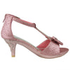 Toddler & Youth T-Strap Bow High Heel Sandal