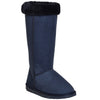Womens Mid Calf Boots Fur Cuff Trimming Casual Pull on Shoes Blue