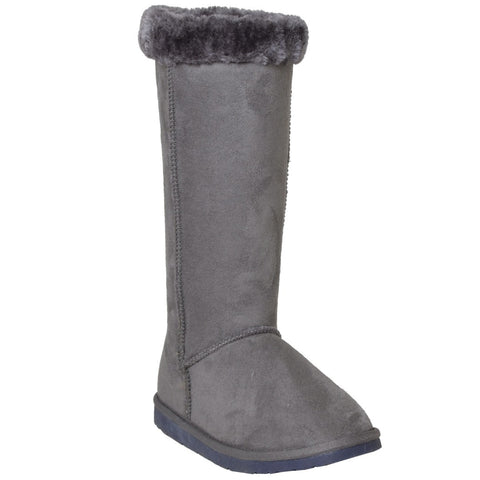 Womens Mid Calf Boots Fur Cuff Trimming Casual Pull on Shoes Gray