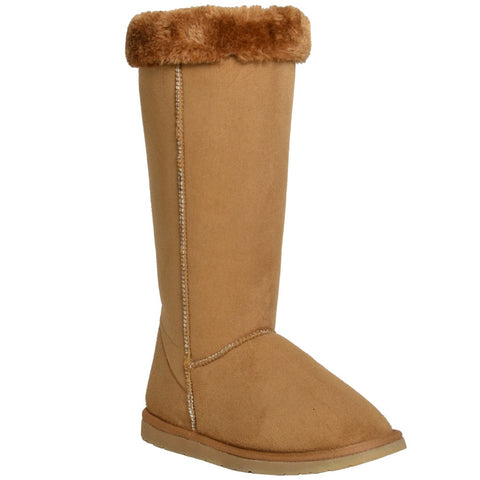Womens Mid Calf Boots Fur Cuff Trimming Casual Pull on Shoes Tan
