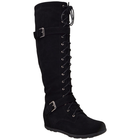 Generation Y Women's Knee High Boots Lace Up Combat Buckle Strap Accent Black Suede