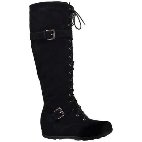 Lace Up Knee High Suede Boot
