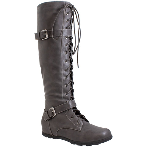 Generation Y Women's Knee High Boots Lace Up Combat Buckle Strap Accent Gray Faux Leather