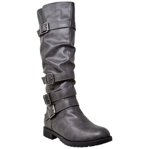 Strappy Knee High Slouch Boot