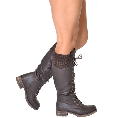 7a907e0183f Womens Knit Cuff Lace Up Faux Leather Knee High Combat Boots Brown –  SOBEYO.COM