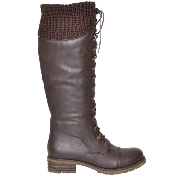a64cecbb6 Womens Knit Cuff Lace Up Faux Leather Knee High Combat Boots Brown –  SOBEYO.COM
