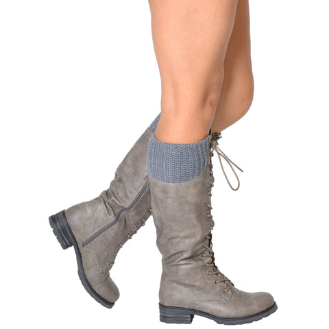 Lace Up Knee High Combat Boot