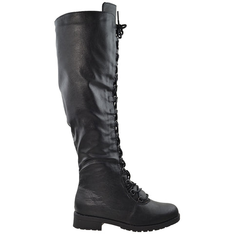 Womens Knee High Boots w/ Lace Up Front Black