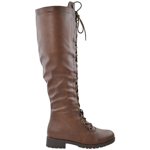 Womens Knee High Boots w/ Lace Up Front Brown