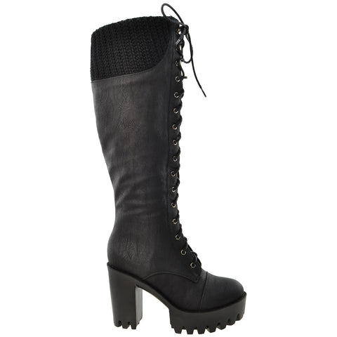 Womens Lace Up Chunky Heel Knee High Knit Boots Black