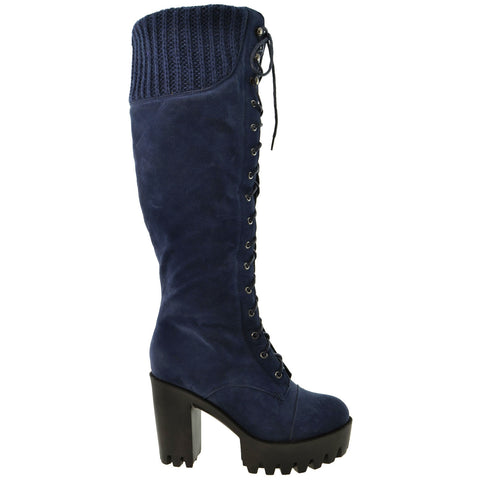 Womens Lace Up Chunky Heel Knee High Knit Suede Boots Blue
