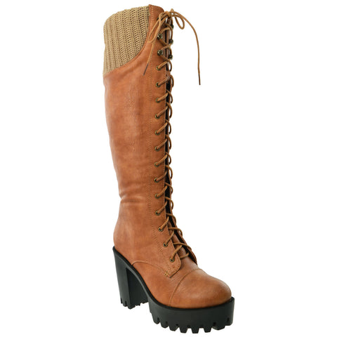 Womens Lace Up Chunky Heel Knee High Knit Boots Tan