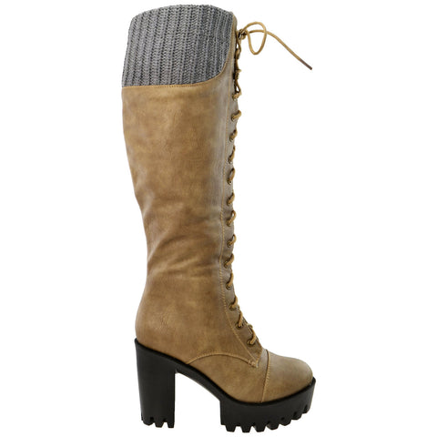 Womens Lace Up Chunky Heel Knee High Knit Boots Taupe