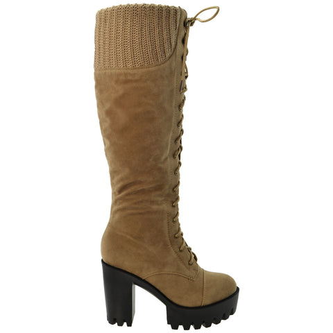 Womens Lace Up Chunky Heel Knee High Knit Suede Boots Taupe