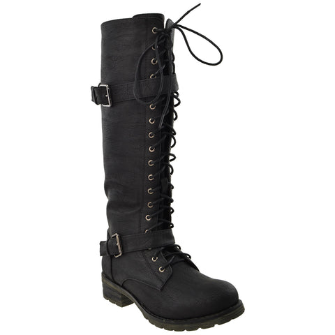 Womens Lace Up Knee High Leather Boots Black