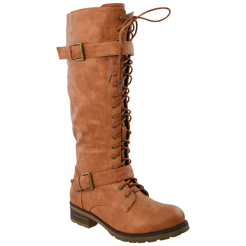 Womens Lace Up Knee High Leather Boots Tan