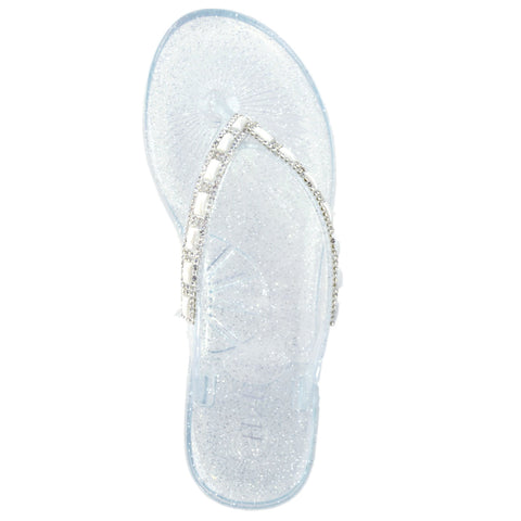 Womens Rhinestone Flip Flop Sandals Clear