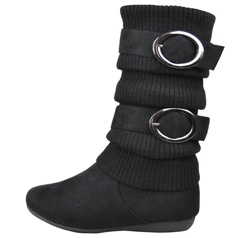 Girls Knitted Mid Calf Boots Black
