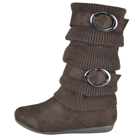 Girls Knitted Mid Calf Boots Brown