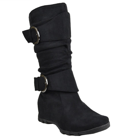 Girls Ruched Mid Calf Boots Black