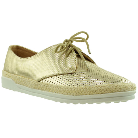 Womens Perforated Lace Up Espadrille Sneakers Gold