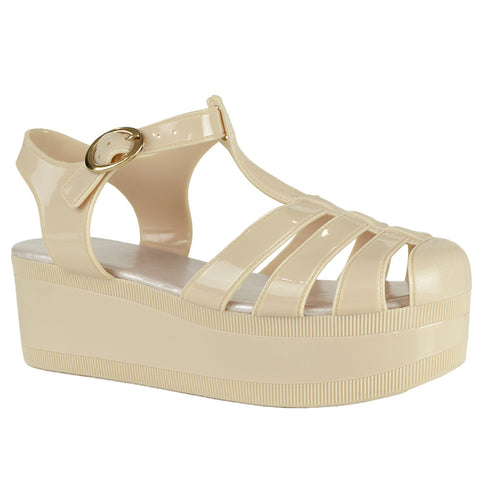 Womens Platform Sandals Jelly Adjustable Strap Casual Comfort Shoes Nude