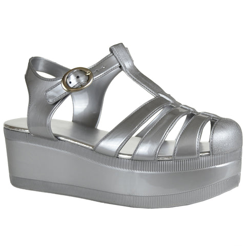 Womens Platform Sandals Jelly Adjustable Strap Casual Comfort Shoes Silver